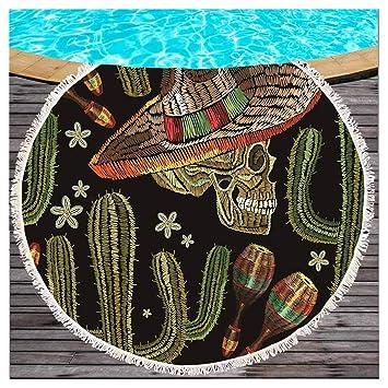 Mexico Cactus redondas Toalla con borlas Tropical Cactus redondas playa manta Flecos redondas playa roundie Mandala estilo bohemio Tapiz playa bufanda ...