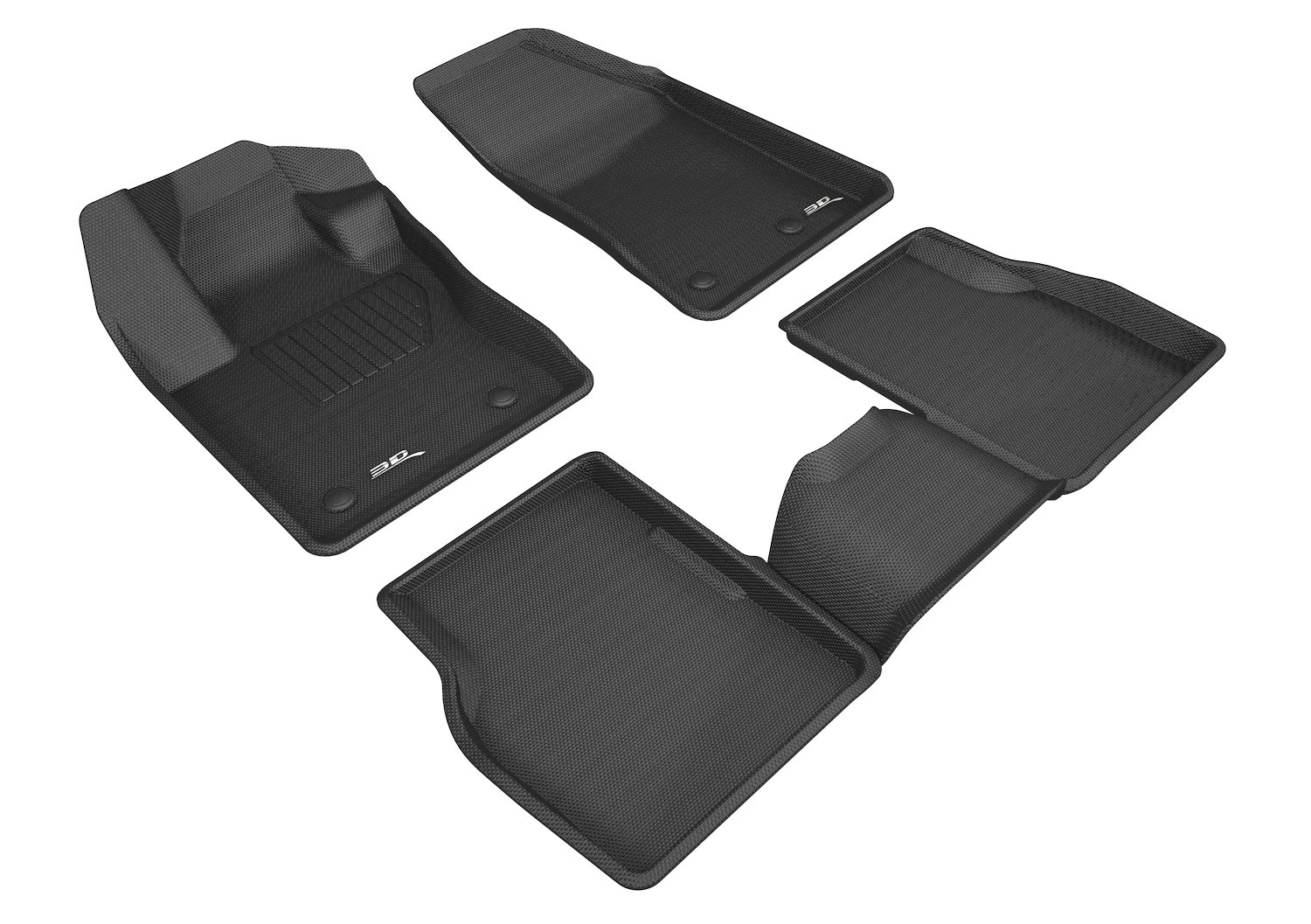 3D MAXpider Complete Set Custom Fit All-Weather Floor Mat for Select Jeep Compass Models Kagu Rubber Black