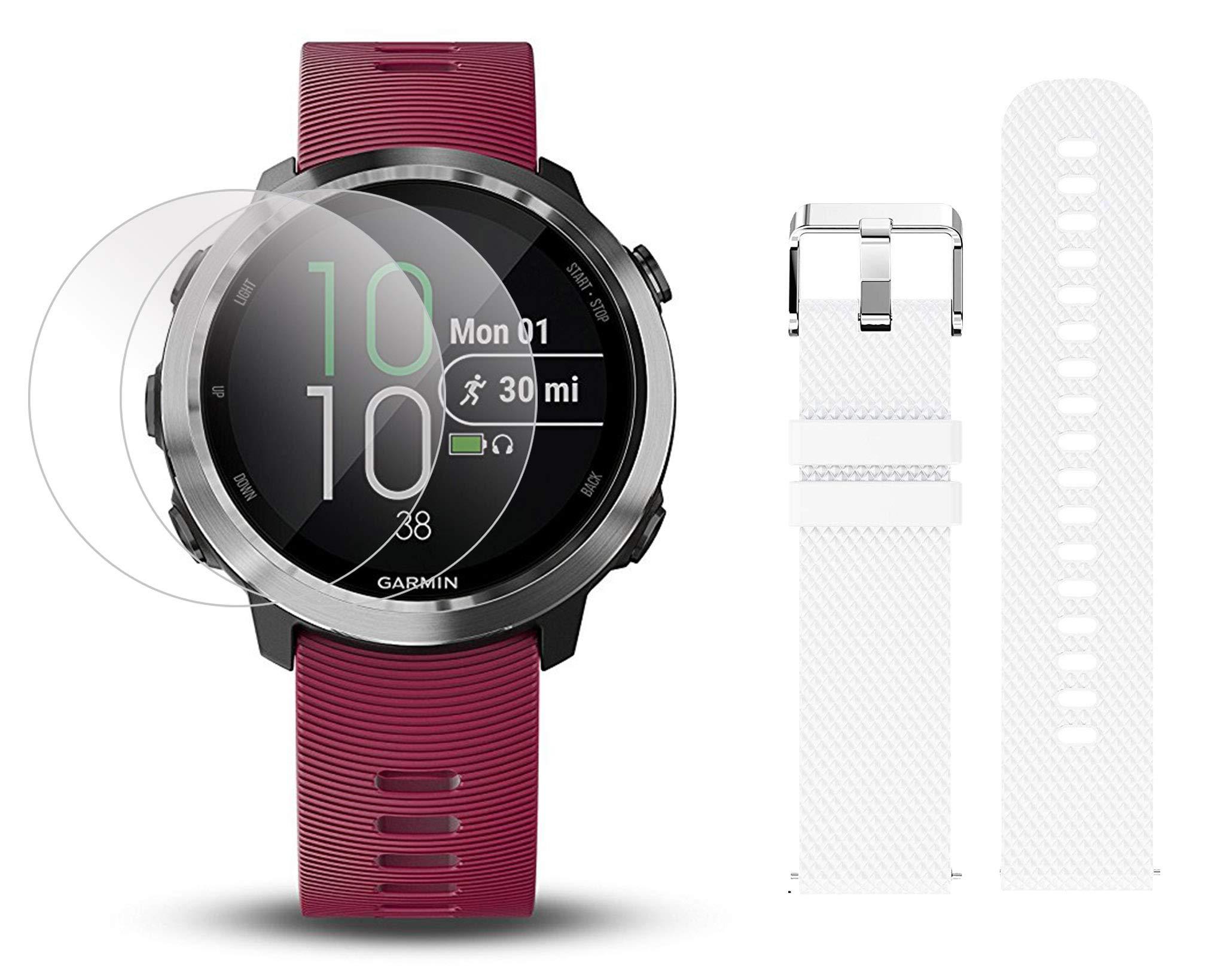 Garmin Forerunner 645 Music Bundle with Extra Band & HD Screen Protector Film (x4) | Running GPS Watch, Wrist HR, Music & Spotify, Garmin Pay (Cerise + Music, White)