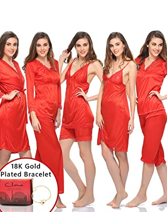 d787a42c24 Clovia Gift Set  9 Pc Lacy Nightwear Set in Red with 18K Bracelet   Gift Box   Amazon.co.uk  Clothing