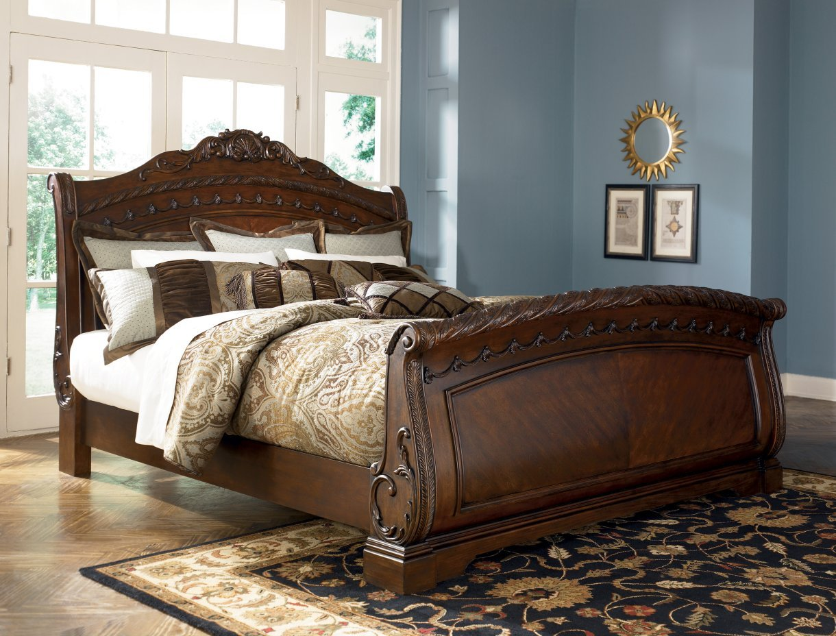 Amazon com  Ashley North Shore 6 King Sleigh Bed B553 best seller Kitchen Dining