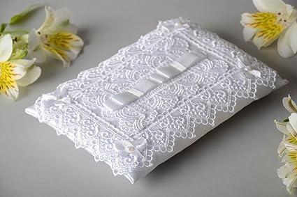 Cojin de boda para anillos blanco de raso rectangular ...