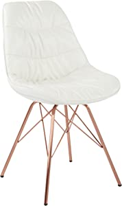AVE SIX Langdon Faux Leather Task Chair with Rose Gold Base, White