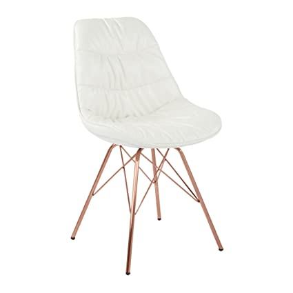 Avenue Six AVE SIX Langdon Faux Leather Task Chair With Rose Gold Base,  White
