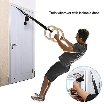 d61d7a1c1fb135 FastDirect Anneaux de Gymnastique en Bois avec Sangles 4.5M Réglable  Musculation Charge 300kg Pour Suspension