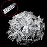 Bonayuanda 100pcs Mini Clear Plastic Utility Paper Clip, Clothespins Clip, Clothes Line Clips,Photo Clips