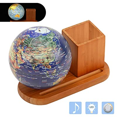 FUN GLOBE 3 in 1 Illuminated World Globe Desktop Decoration Geographic Interactive Earth Globes Office Supplies Holiday Gift with Adjustable LED & Light Music s for for Kids & Adult (Navy-1) 5 in: Office Products