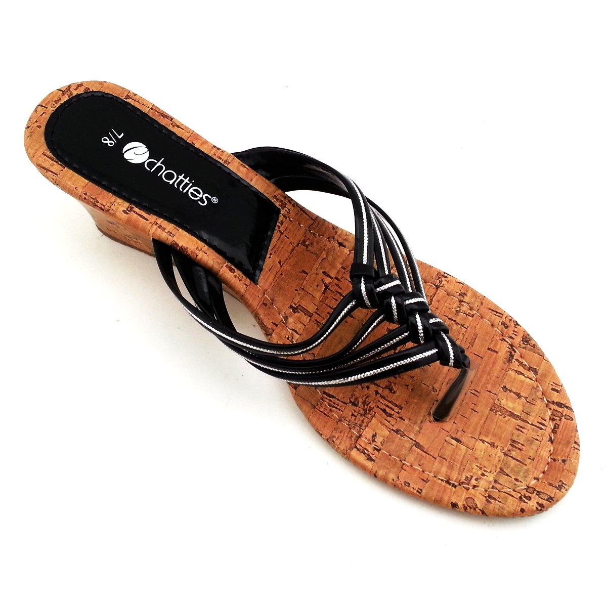 Ladies Braided Cork Mini Wedge Spa Sandals