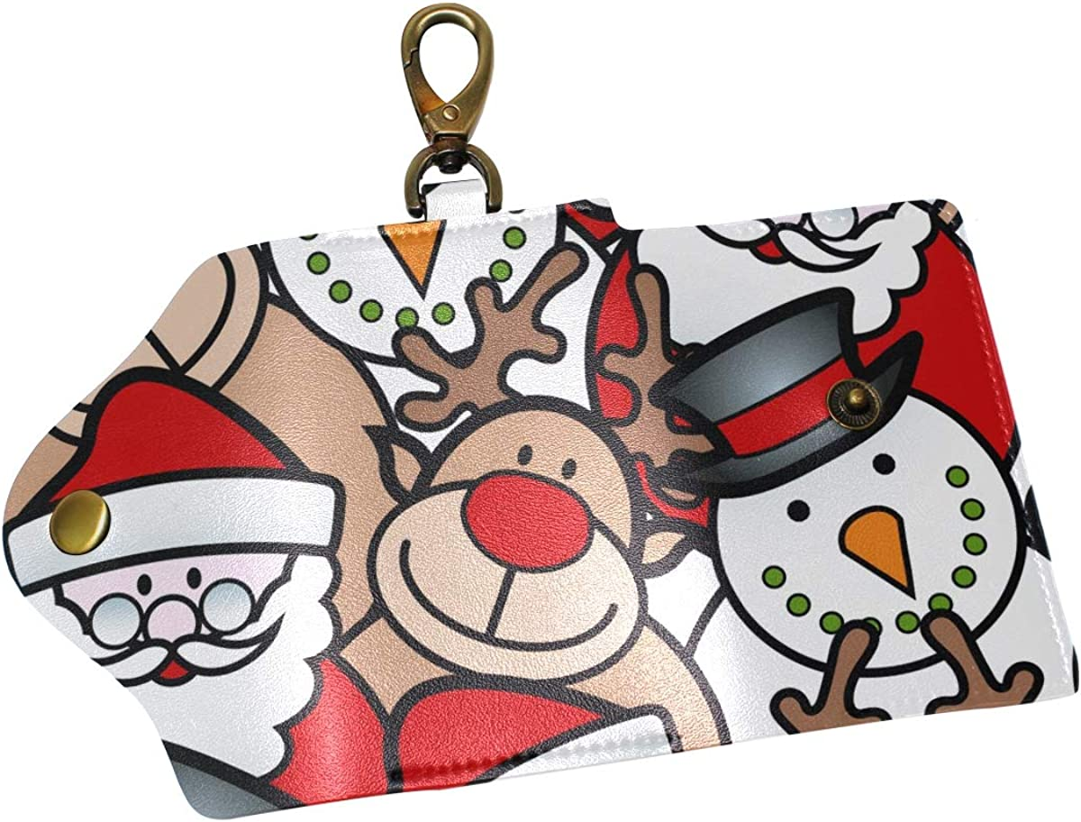 KEAKIA Christmas Snowman Leather Key Case Wallets Tri-fold Key Holder Keychains with 6 Hooks 2 Slot Snap Closure for Men Women