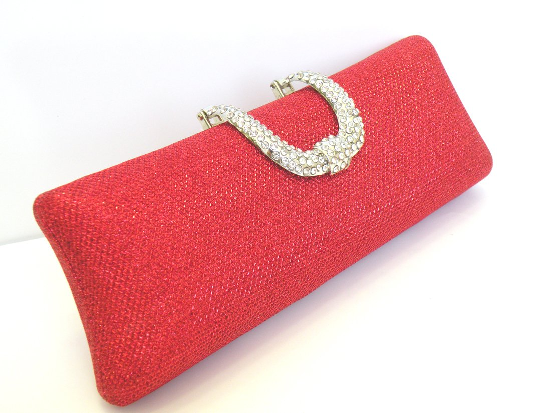 Women Sparkling Glitter Bling Shiny Evening Purse Party Clutch Evening Bag Shoulder Bag Wedding Bag With Long Chain. Measurement 9 Inches Length x 3 Inches Height.