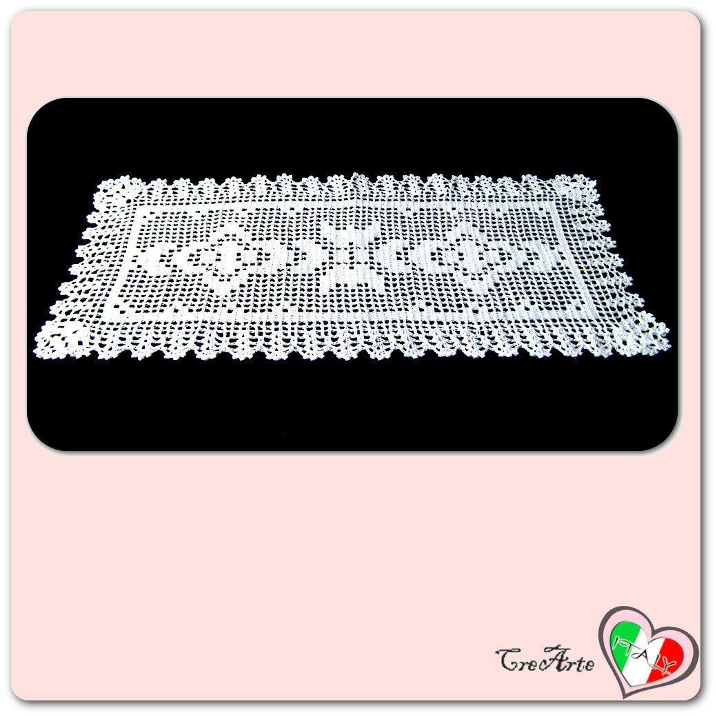 ITALY Handmade Dimensioni: 47 cm x 24 cm H Centrino bianco rettangolare alluncinetto in cotone