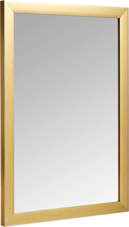 "AmazonBasics Rectangular Wall Mirror - 20"" x 28"", Standard Trim, Brass"