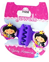 Disney [I1658] - Paire de pinces 'Princess Jewels' violet