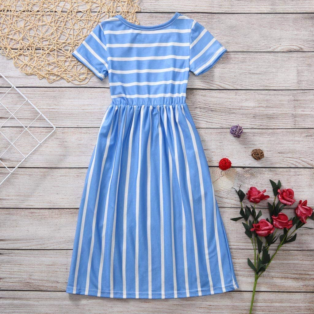 squarex Girls Dress 2-12 Years Old Toddler Baby Girls Short Sleeve Striped Print Dress Kids Dresses Clothes for Casual Christmas Party