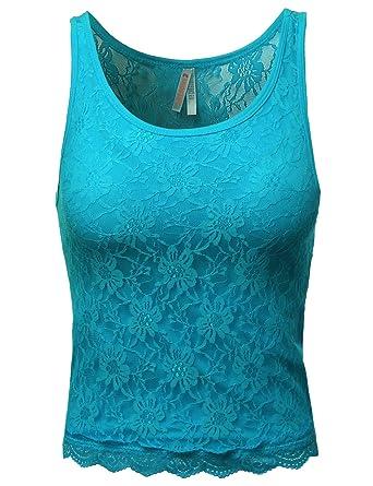 2ac7e74490b909 Awesome21 Women s Lace Cute Crop Tank Tops at Amazon Women s ...