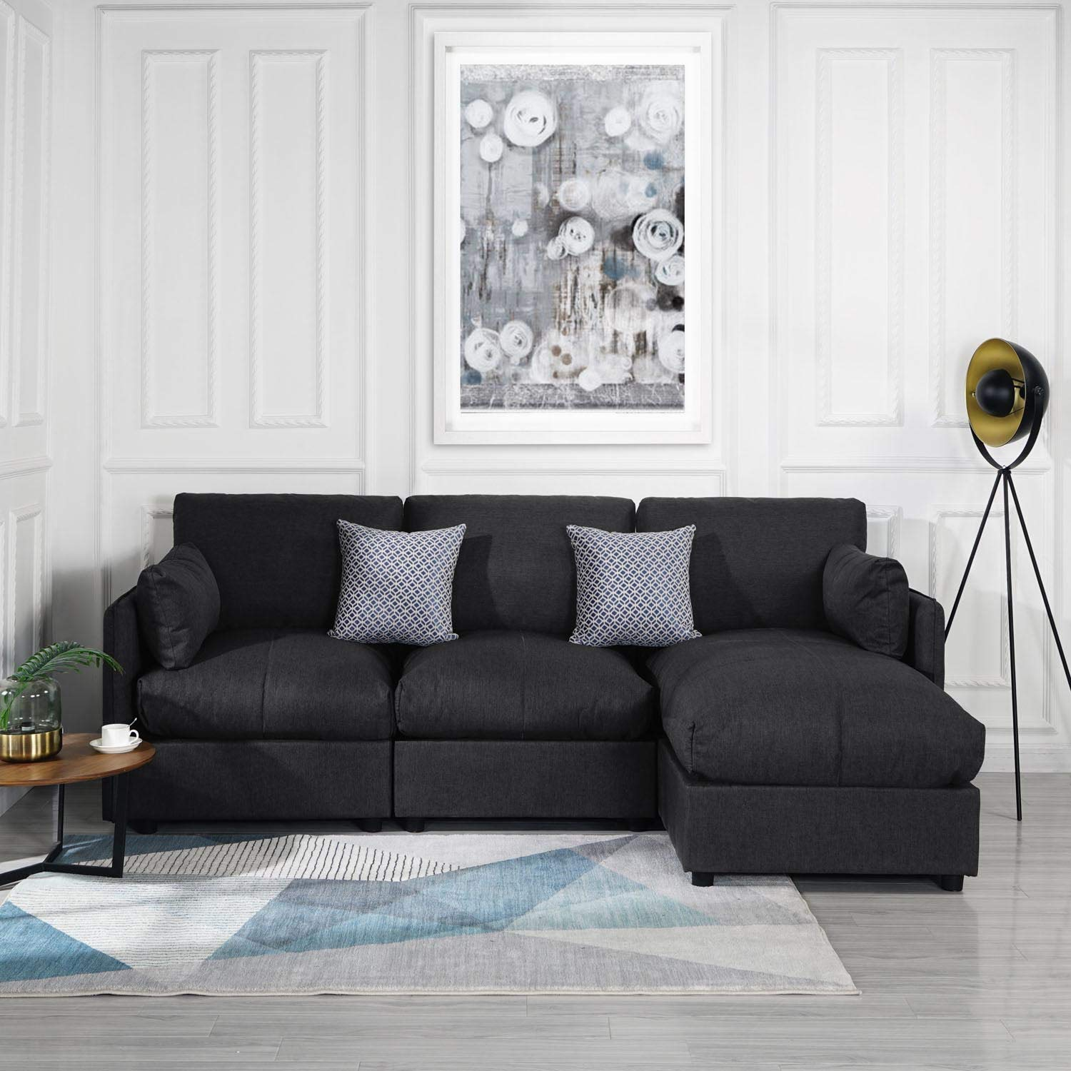 Grey Upholstered Linen Sectional Sofa Couch Modern L Shape Sectional,  Sectional Sofas and Couches, Sofa Couch with Chaise, for Small/Large Living  ...