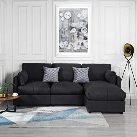 Pleasing Grey Upholstered Linen Sectional Sofa Couch Modern L Shape Sectional Sectional Sofas And Couches Sofa Couch With Chaise For Small Large Living Gmtry Best Dining Table And Chair Ideas Images Gmtryco
