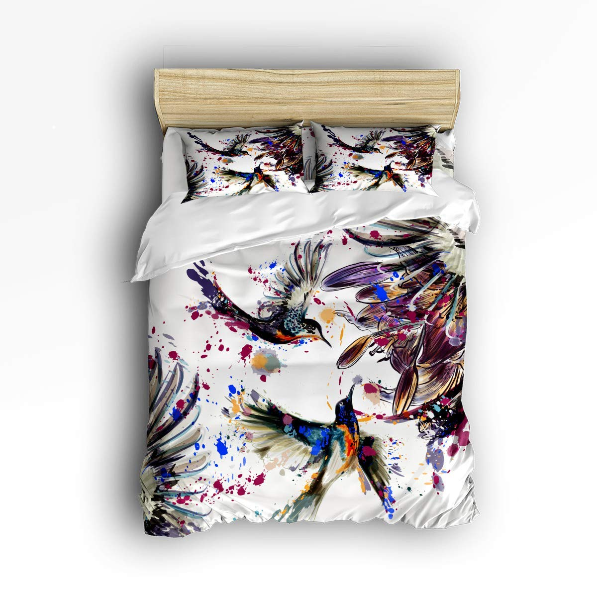 COVASA Luxury 4-Piece Bedding Set Art with Lily Flowers Birds and Color Splashes in Watercolor Painting Hummingbirds Duvet Covers Set Duvet Cover Bed Sheet Pillow Cases Queen Pattern