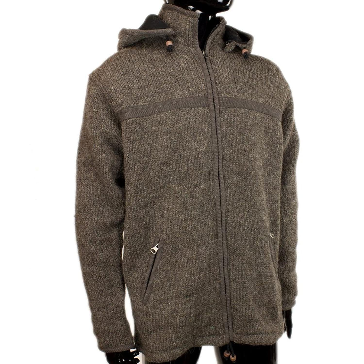 FAIR TRADE NEPAL CHUNKY WOOL KNIT ZIP UP HOODIE JACKET CARDIGAN FLEECE LINED - 3 Colours - S M L XL