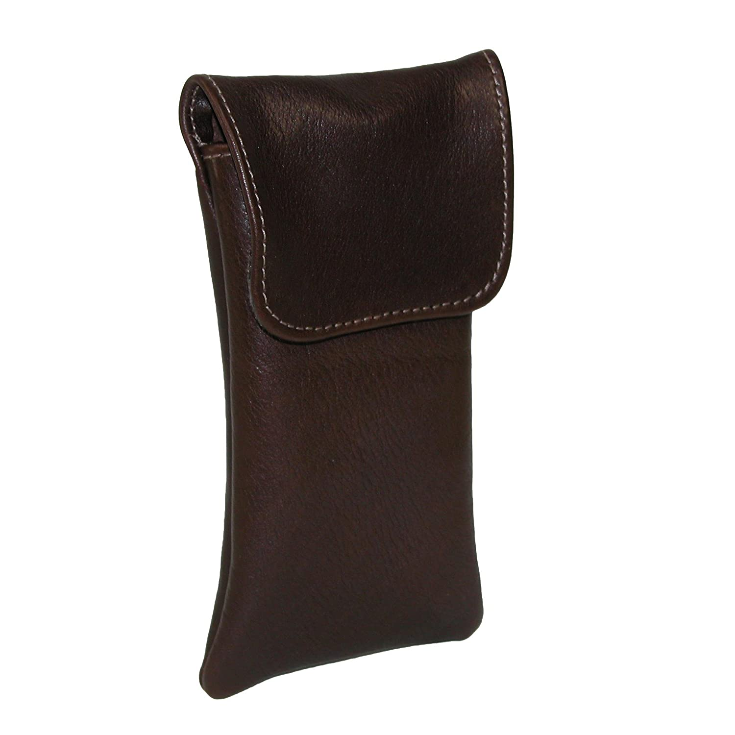 CTM® Leather Soft Eyeglass Case with Holster Clip, Brown NS-524-BRN
