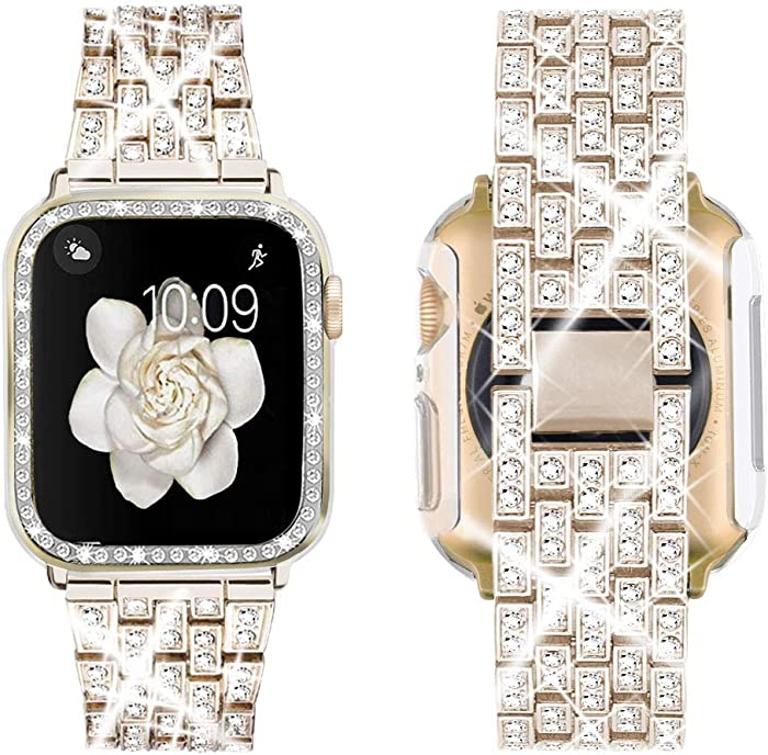 Supoix Compatible with Apple Watch Band 38mm 40mm 42mm 44mm + Case, Women Jewelry Bling Diamond Replacement Metal Strap & Clear PC Bumper Protective Case for iWatch Series 5/4/3/2/1(Champagne)