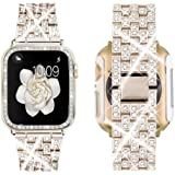 Supoix Compatible with Apple Watch Band 38mm 40mm 42mm 44mm + Case, Women Jewelry Bling Diamond Replacement Metal Strap…