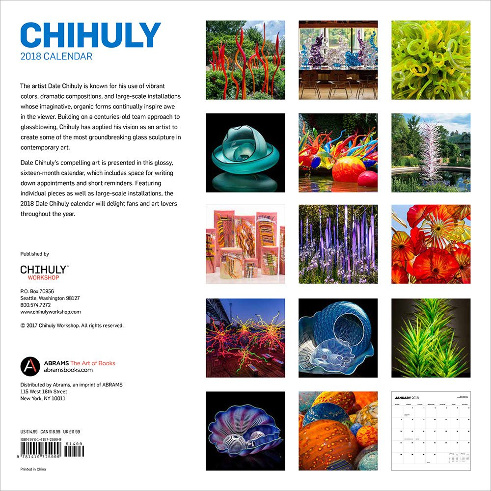 Amazon.com: Chihuly 2018 Wall Calendar (9781419725999): Dale Chihuly: Books