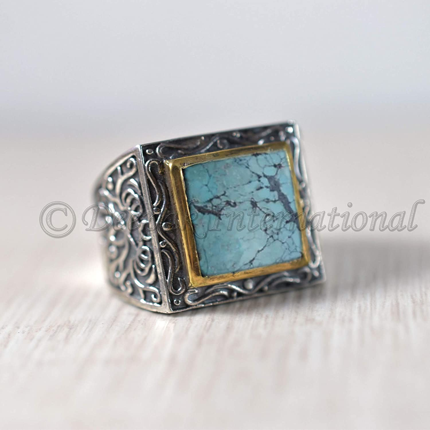 valentine day ring oxidized ring bohemian ring two tone ring natural tibetan turquoise mans ring heavy mens ring handmade silver ring square gemstone ring 925 sterling silver ring
