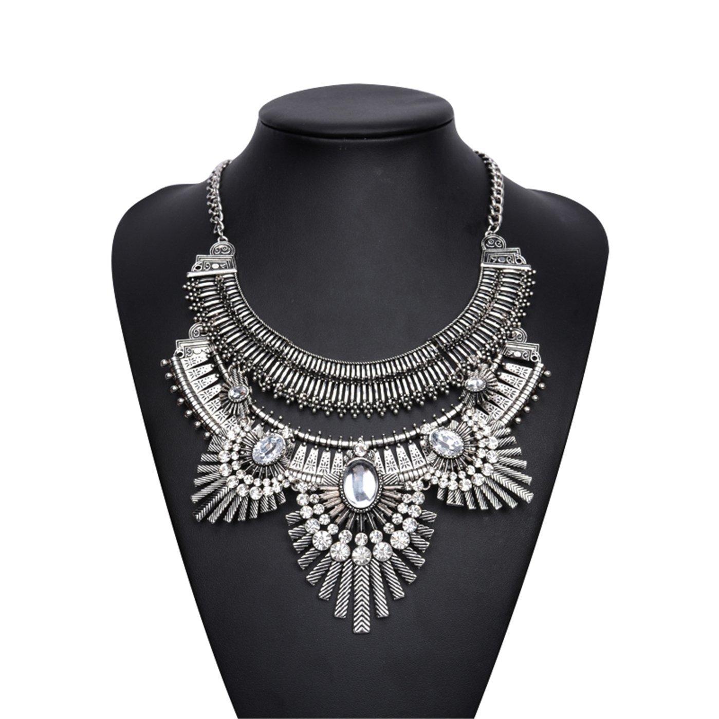 Lanue Vintage Gypsy Bohemian Ethnic Tribal Boho Statement Pendant Necklace,Owl style (Silver)