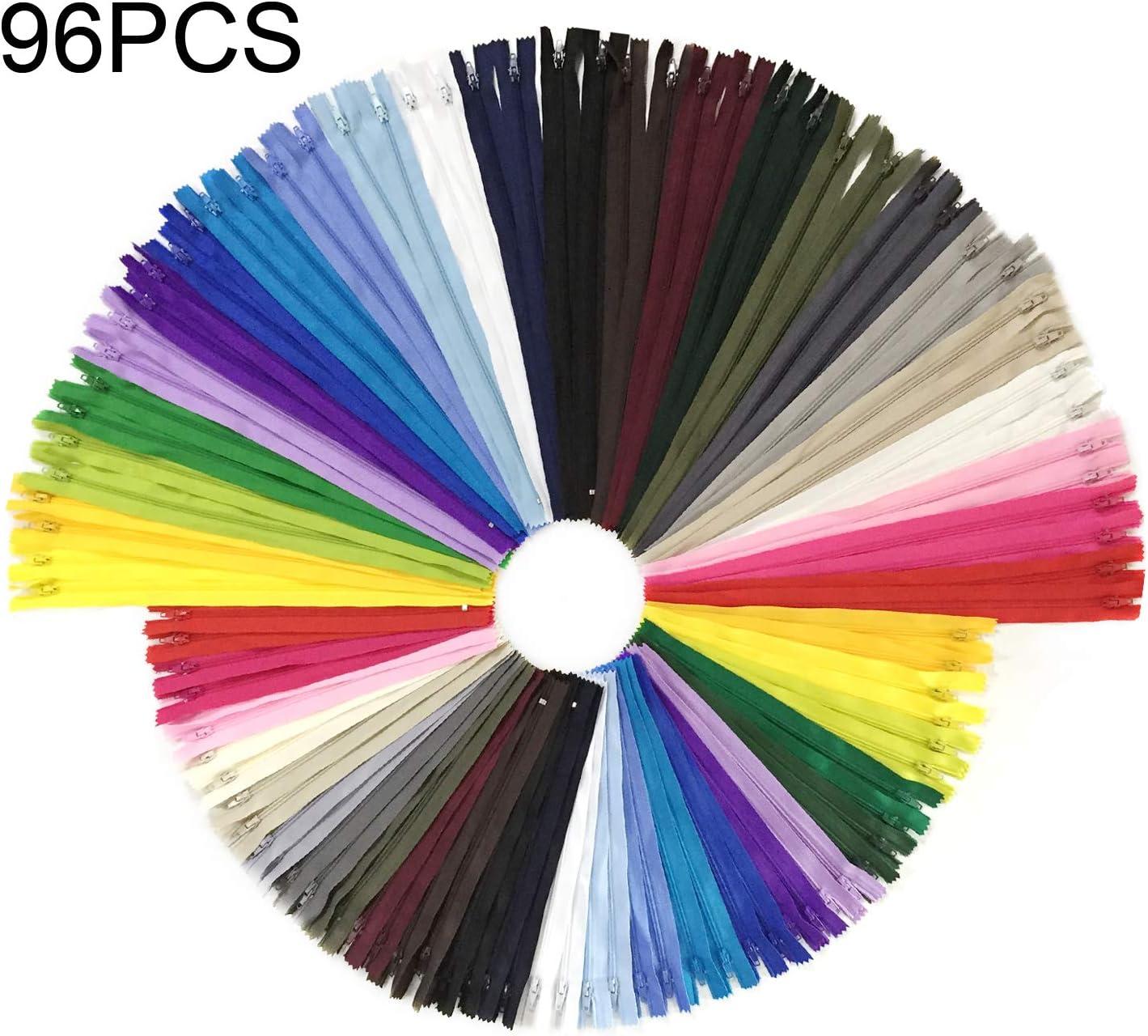 Wartoon 96pcs 23cm / 9 pulgadas y 30cm / 12 pulgadas cremalleras de nylon multicolor de la bobina para coser y artes 24 colores