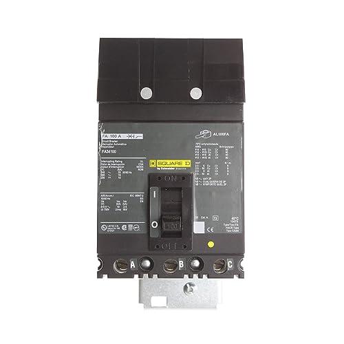 Square D FA34100 Circuit Breaker, FA, 3-Pole, 100-Amp, 480-Volt