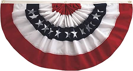 "Evergreen Patriotic Appliquéd American Flag Bunting with Grommets 58/"" X 27/"""
