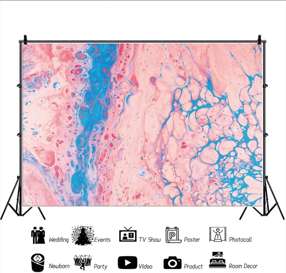 Leowefowa Abstract Pink Blue Oil Paint Texture Backdrop 10x8ft Vinyl Chic Photography Background Child Adult Artistic Portrait Shoot Studio Photo Booth Props Indoor Decors Wallpaper