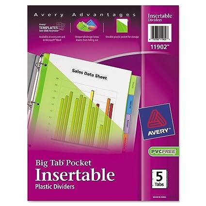 Avery bolsillo de plástico Insertable Tab separador - 5 x Tab ...