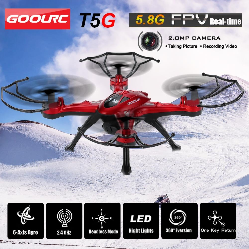 One Key Return and 3D Flips RC Quadcopter Height Hold Easy Fly for Learning Headless Mode RED GoolRC T5G 5.8G FPV Drone Quadcopter with 720P HD Camera Live Video