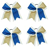 """CN 4Pcs 7"""" Glitter Cheer Bows With Ponytail Holder Girls Sparkle Cheer Bow"""