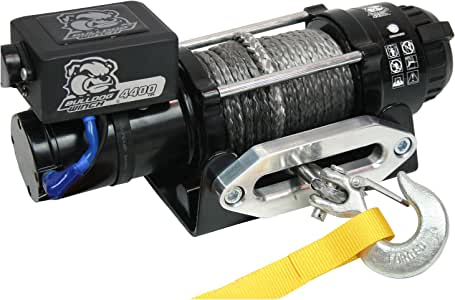 Bulldog Winch 15020 Trailer Winch (4400lb Trailer/Utility with 50 Ft. Synthetic Rope, CNC Billet Aluminum Hawse Fairlead, Mounting Plate, Low Profile), 1 Pack