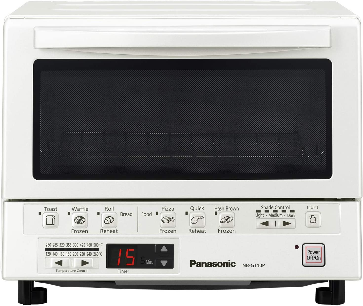 Panasonic FlashXpress Compact Toaster Oven with Double Infrared Heating, Crumb Tray and 1300 Watts of Cooking Power – 4 Slice Countertop Toaster Oven - NB-G110P-W (White) (Renewed)