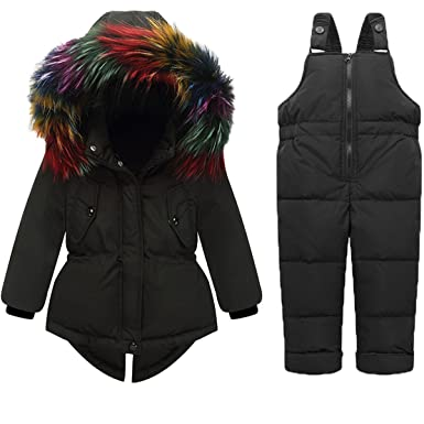 d286f48ff Amazon.com  JELEUON Baby Girls Two Piece Winter Warm Hooded Colorful ...