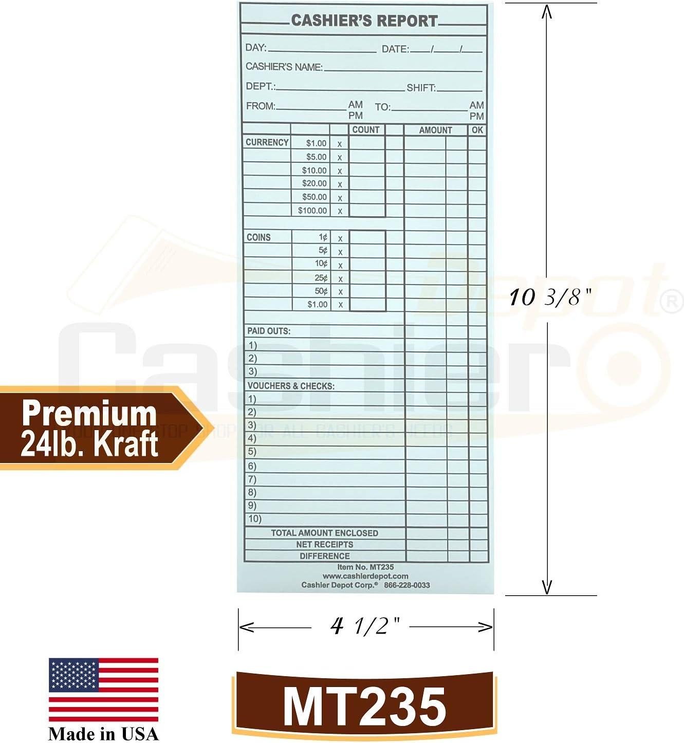 Cashier Depot MT235 Cashiers Report Envelope 4 1//2 x 10 3//8 White 24lb. 500 Envelopes