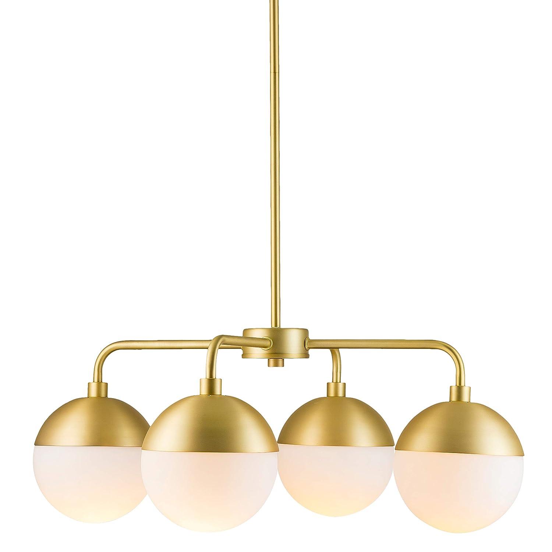 Novara 4 Light Modern Chandelier – Satin Brass w Frosted Glass – Linea di Liara LL-CH16-3SB