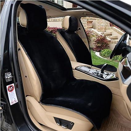 RIRUI Winter Wool Cushion Short Plush Car Seat Cover Black