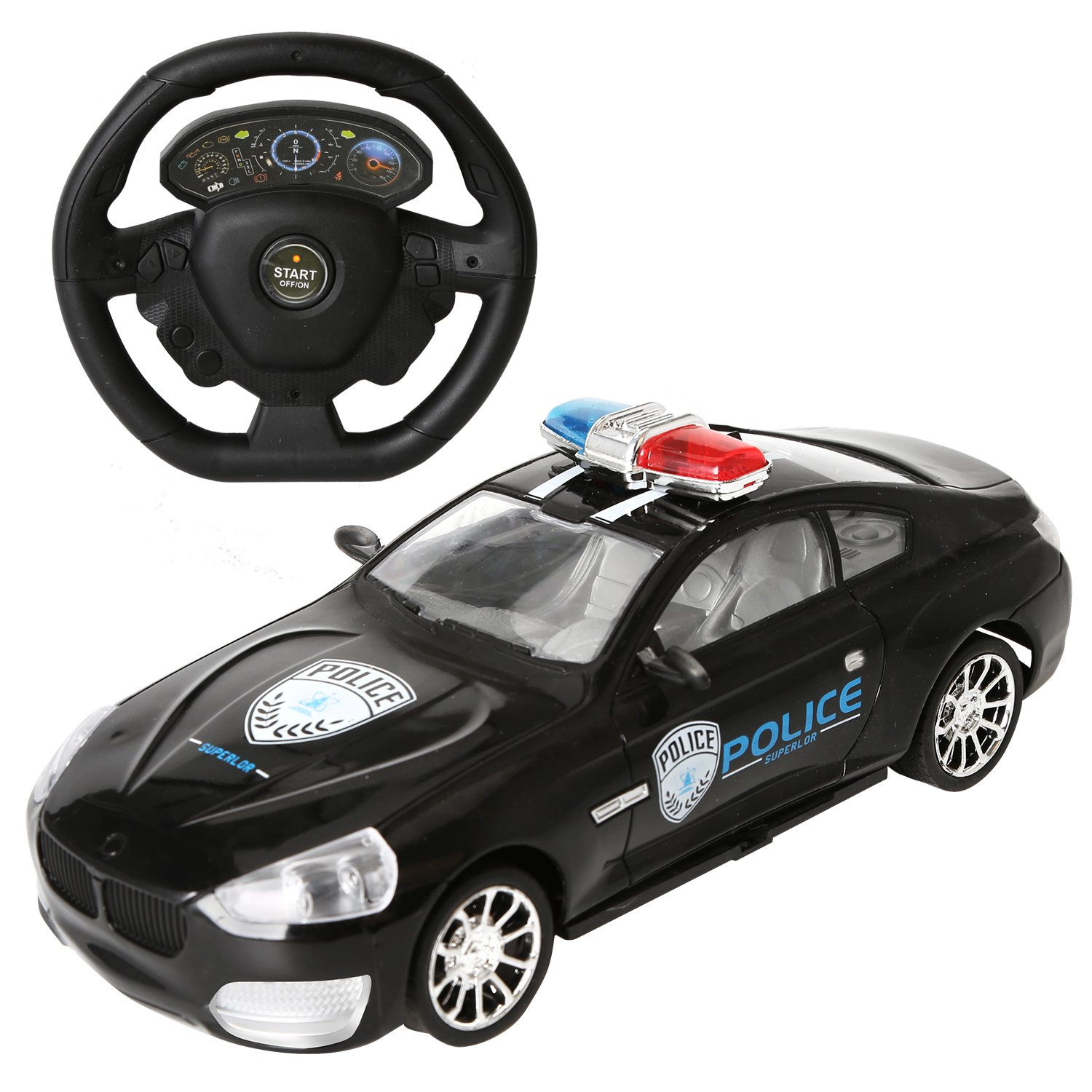 Amazon.com: 1/14 Scale Rechargeable Radio Remote Controlled Car Electric RC Vehicle Police Car Drifting Race Model Car (2.4G Black-P24C): Toys & Games