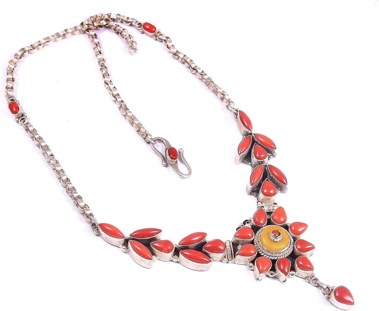925 joyas de plata esterlina con collar de coral para mujeres | Collar de piedras preciosas de coral rojo natural para mujer | Collar de coral natural, collar de piedras preciosas de plata.