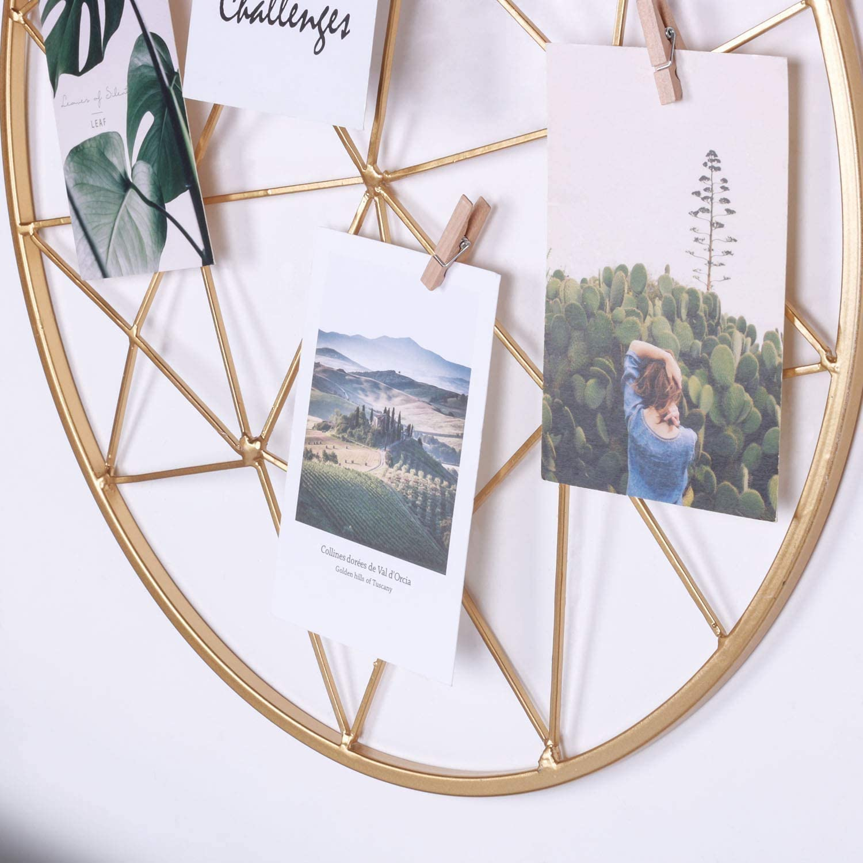 "Yamfurga Geometric Wire Grid Wall Mount Display Rack, Round Metal Photo Organizer Display Stand, Creative Hanging DIY Wall Decor Home Ornament, 17.7""X17.7"",Gold"