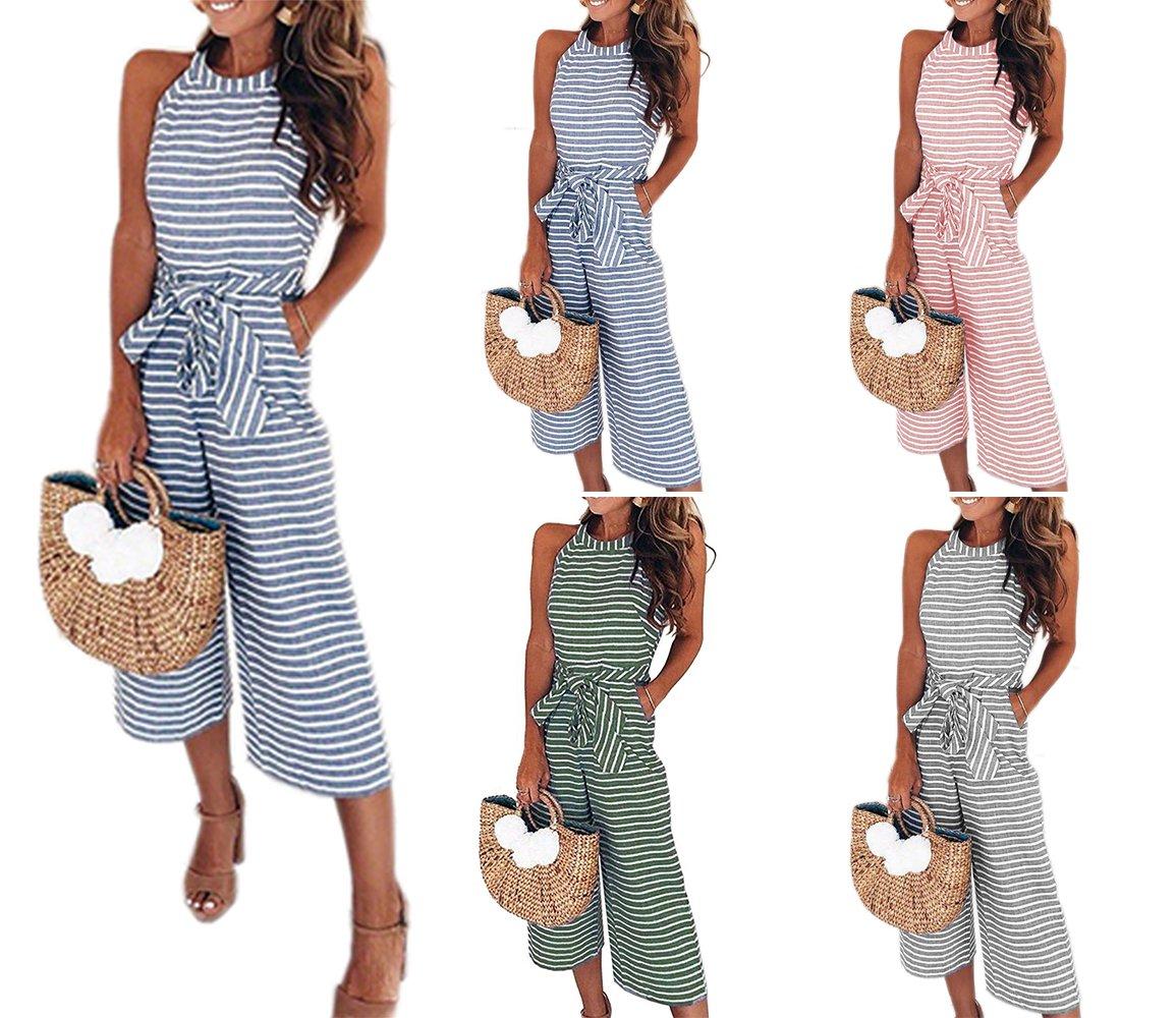 PRETTYGARDEN 2018 Women's Striped Sleeveless Waist Belted Zipper Back Wide Leg Loose Jumpsuit Romper with Pockets (Pink, X-Large) by PRETTYGARDEN (Image #2)