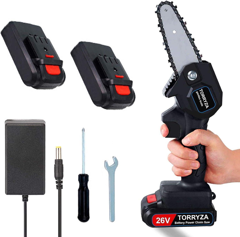 TORRYZA Mini Chainsaw 4-Inch Cordless Power Chain Saws