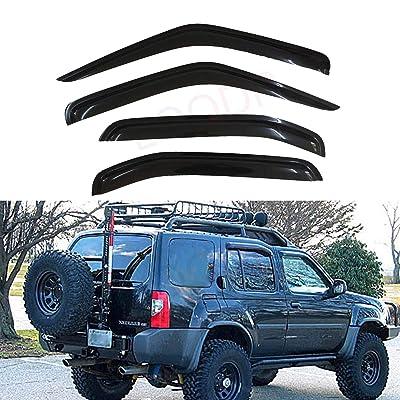 LQQDP Set of 4 Front+Rear Smoke Sun/Rain Guard Outside Mount Tape-On Acrylic Window Visors For 00-04 Nissan Xterra: Automotive