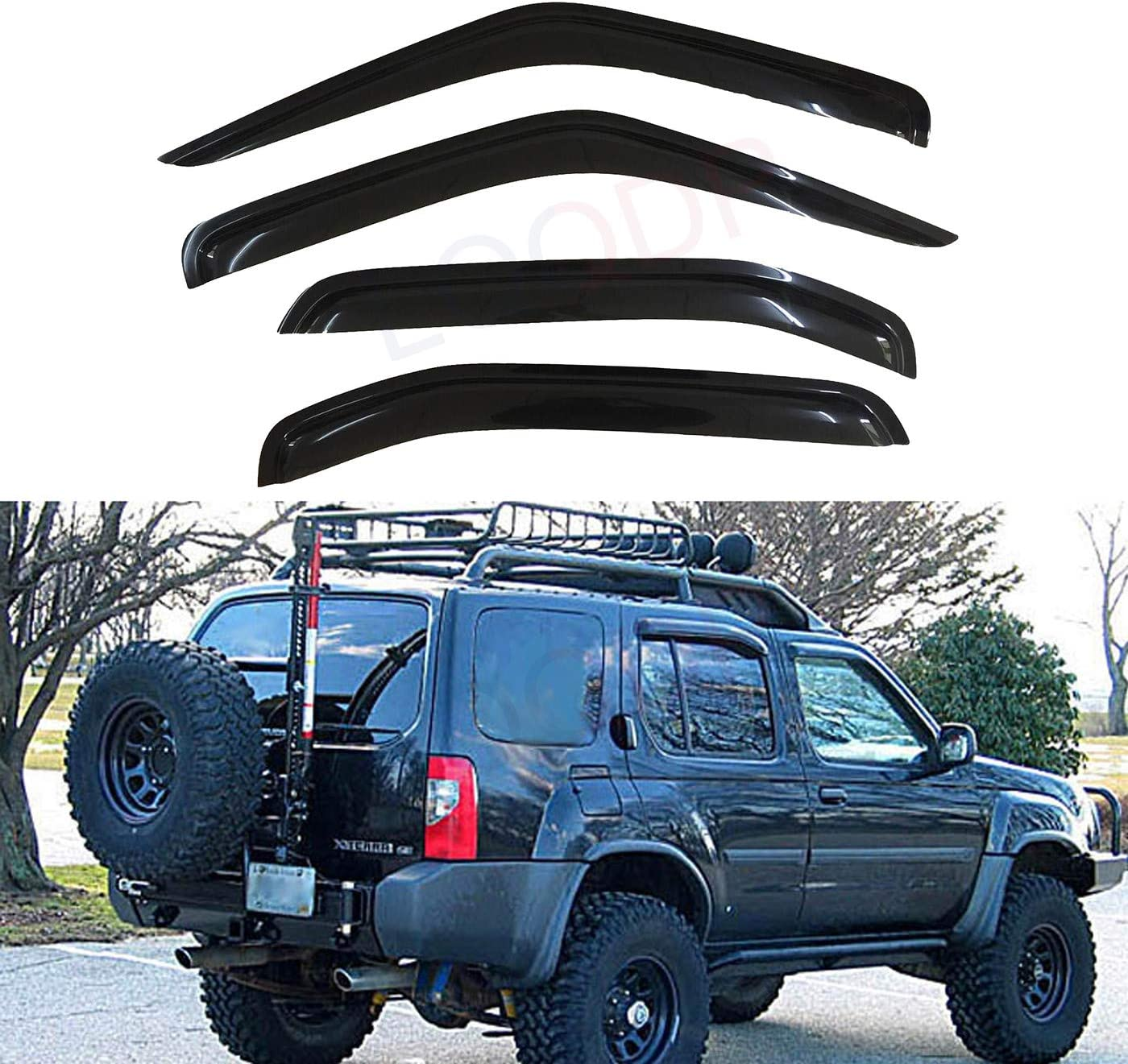 For 2005-2019 Nissan Frontier Crew Cab Smoke Door Vent Visors 4Pc Rain Guards