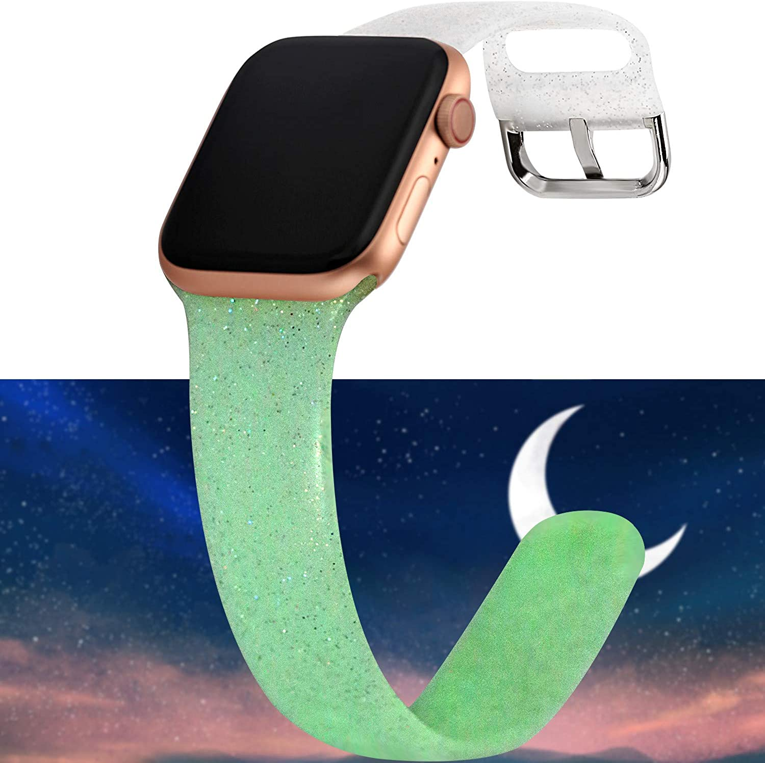 Greaciary Sport Glitter Band Compatible with Apple Watch Band 38mm,40mm 42mm 44mm,Sparkle Bling Soft Silicone Replacement Strap Compatible for iWatch Series 5/4/3/2/1 Women
